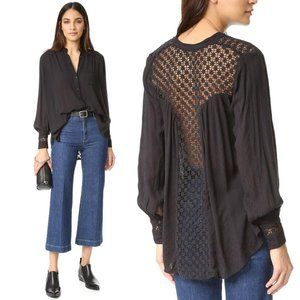 Free People The Best Button Down Crochet Blouse S